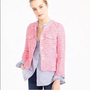 J. Crew Pink Tweed Ladylike Peplum Jacket NWT 0